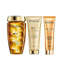 Kérastase Elixir Ultime Pre Shampoo, Elixir Ultime Bain & Beautifying Oil Conditioner Bundle